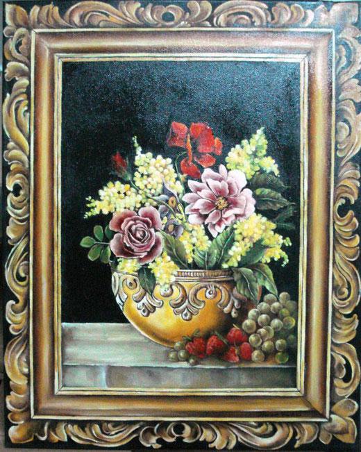 Valentina Dominici - Vaso con fiori - olio su tela - 35 x 50