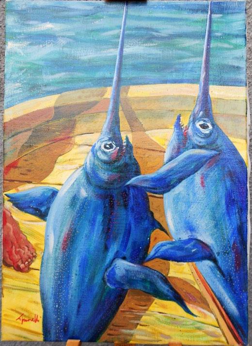 Signorelli Silvio (Italia) - Pullecenella dello stretto - olio su tela  - 50 x 70