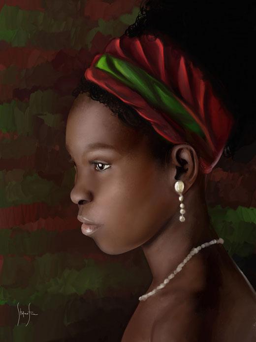 Fiore Stefano (Italia) - Giovane Africa - digitale pittorico su forex applicato su cornice di legno - 30 x 40