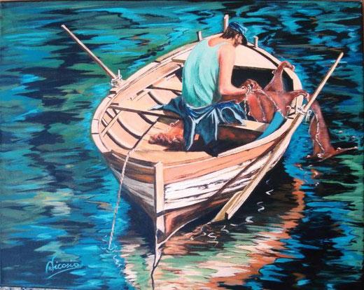 Nicosia Pino - Il pescatore - acrilico tela - 50 x 40