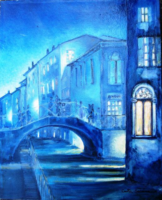 Crotta Sabrina (Italia) – Sul ponte a Venezia - olio tela - 40 x 50