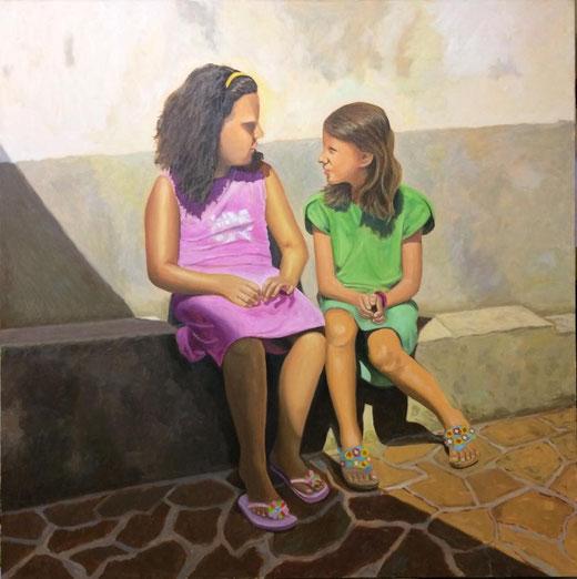 Mileo Gianni (Italia) - Cugine - olio su tela 70 x 70