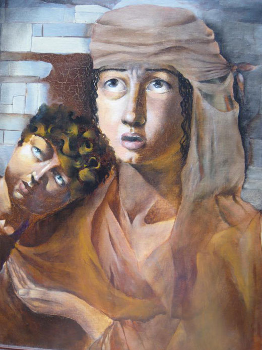 Okiana Mikeli - La clochard - olio su tela - 40 x 50