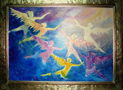 Riccardo Battigelli - Dove osano la Danza Sette Angeli del Dono della Libertà - olio su tela - 70 x 50