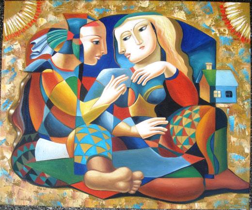 Henryk Borowsky - Complicità - olio su tela - 60 x 50