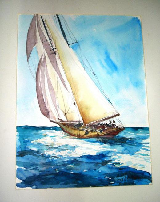 Pasqualino Fracasso - Barca a vela - acquerello su carta - 30 x 40