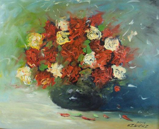 Marek Zwiez - Bukiet kwiatow - olio tela - 50 x 40