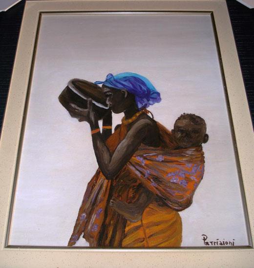 Patrizioni - Il colore blu - olio su tavola di legno  - 30 x 40