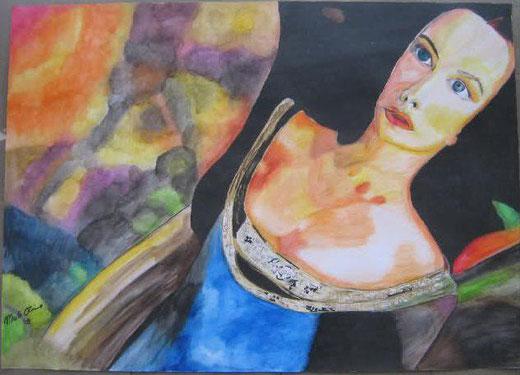Enrica Merlo - L'ELFA ARWEN - Il Signore degli anelli - acquerello su cartone - 70 x 50