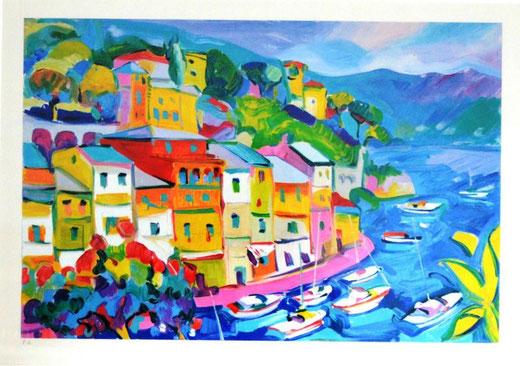 Claudio Malacarne - Portofino - Serigrafia Su Tela - 50 X 70