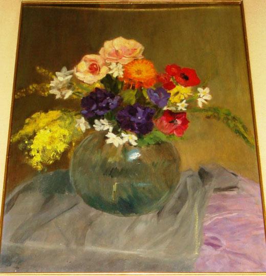 Clara Boriosi - Mimosa e rose in un vaso verde - olio su tela - 50 x 70