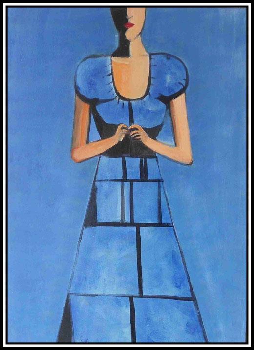 Martine Jaeger- Woman in blue -  acrilico  su tela - 50 x 70