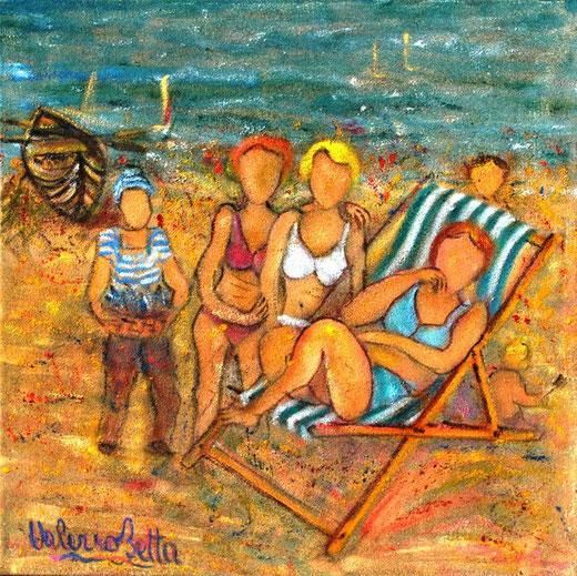 Betta Valerio (Italia) - In posa sulla spiaggia - olio su tela sabbiata - 50 x 50