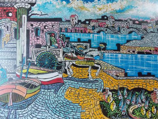 Piacentini Marcello - Carretto sul molo - olio tela - 80 x 60