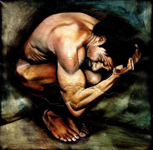 Scannella Alessandro (Italia) - Disperazione - olio su tela - 140 x 140