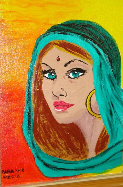 Maria Faraone - Odalisca - tecnica mista su cartone - 25 x 35