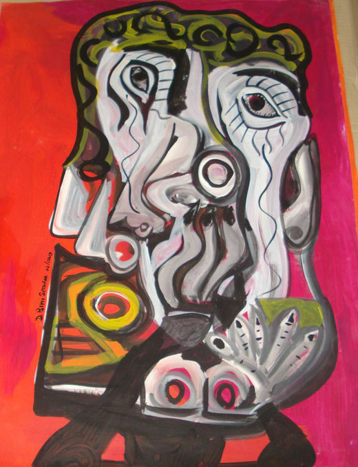 Davide Bini - Esterrefatto - acquerello su carta - 50 x 70