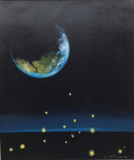 Orlando Riccardo - Visioni notturne - olio su carta - 22 x 27