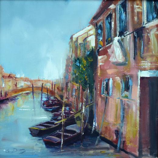 Gabriella Dumas (Italia) - Chioggia - olio tela - 50 x 50