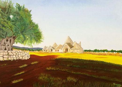 Frattini Primarosa - Omaggio alla mitica Puglia - olio su tela - 70 x 50