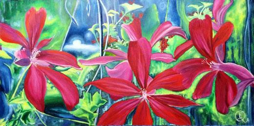 Ester Q (Italia) - Inside the garden - olio su tela - 50 x 100