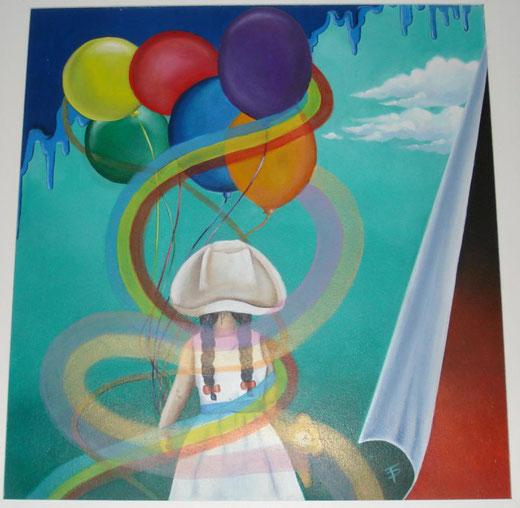 Teresa Palombini - Giorno di festa - olio su tavola di legno - 50 x 50