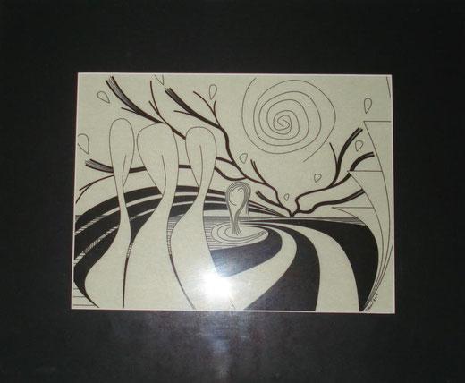 Demetrio Rizzo - Bodhistava - tecnica mista su carta - 30 x 20
