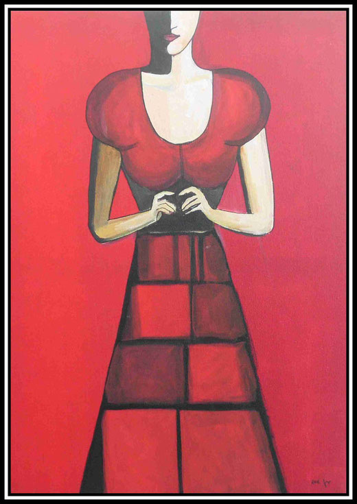 Martine Jaeger- Woman in red - acrilico su tela - 50 x 70