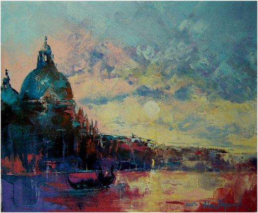 Wajerczyk Adam (Polonia) - Venise - olio su tela - 60 x 55