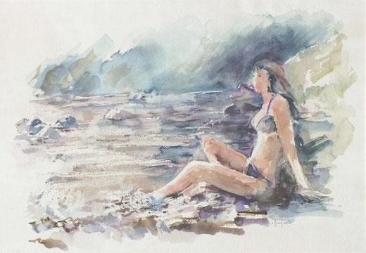 Bonfanti Adelaide (Italia) - Nel mare della tranquillità - acquerello su carta - 50 x 35