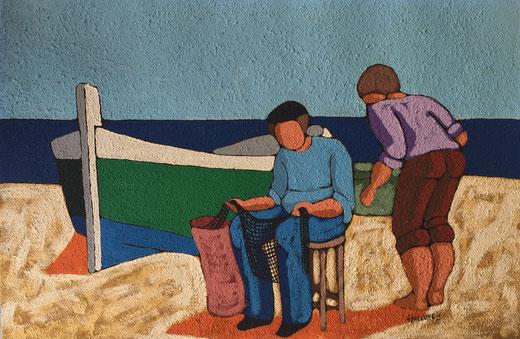 Salvatore Spallone - Pescatori - olio su carta sabbiata - 60 x 40