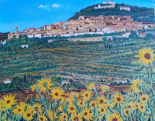 Alesci Francesco - Paesaggio di Cortona  - olio su tela - 50 X 40