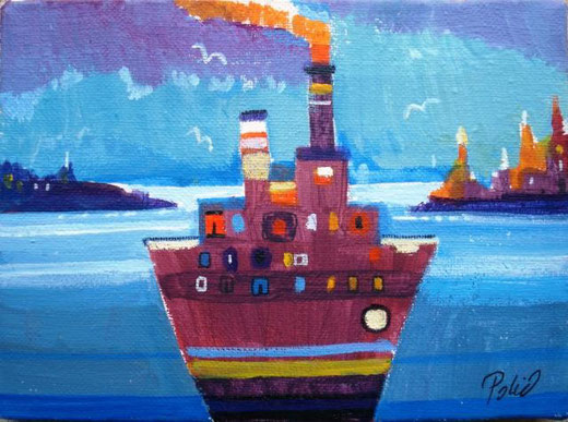 Polic Ana - The abstract ship - olio tela - 18 x 13