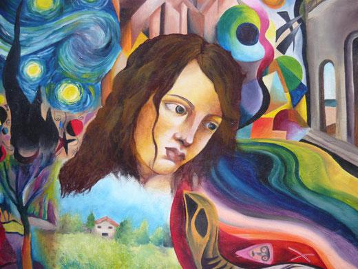 Okiana Mikeli - La donna e la pittura - olio su tela - 55 x 45