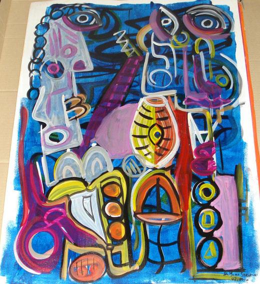 Davide Bini - Al chiar di luna - acquerello su carta - 50 x 70