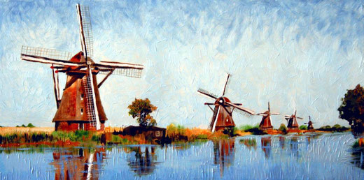 Paul De Haan - Windmills - olio su tavola - 60 x 30