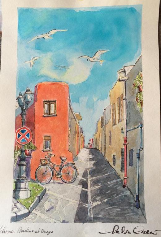 Currò Salvo (Italia) - Milazzo, stradina al borgo - acquerello su carta - 45 x 67