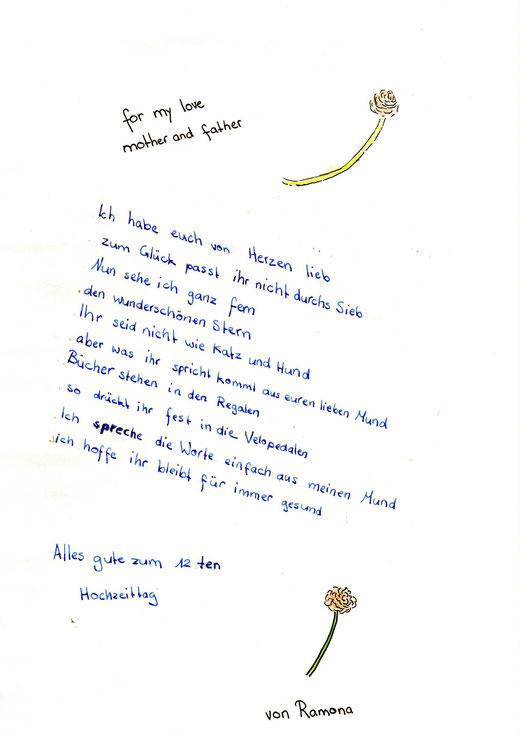 Gedicht Zu Unserem 12 Hochzeitstag 26092015 Familie
