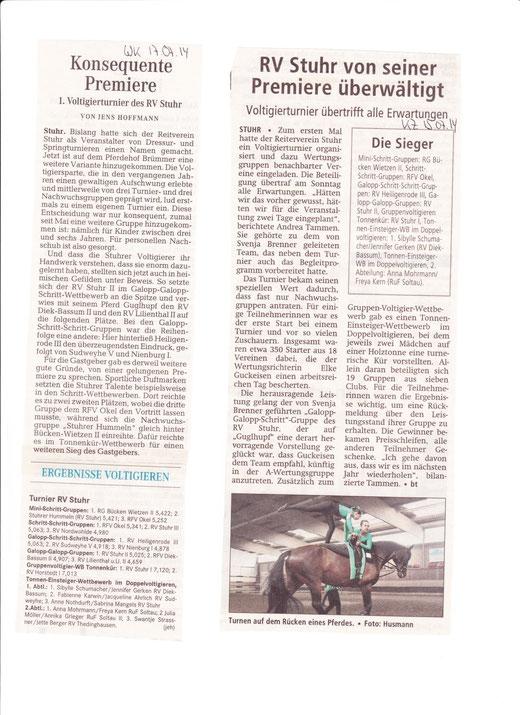 Voltiturnier 13.07.2014 Artikel Weser-Kurier + Kreiszeitung