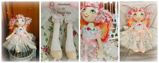 Текстильные куклы Маслик Ольги. Куколка-бабочка
