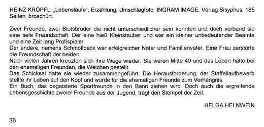 Rezension Erzählung Lebensläufe Sisyphus Verlag Helga Helnwein Ein Buch das begeisterte Sportfreunde in den Bann ziehen wird Fußballbuch Laufsportbuch