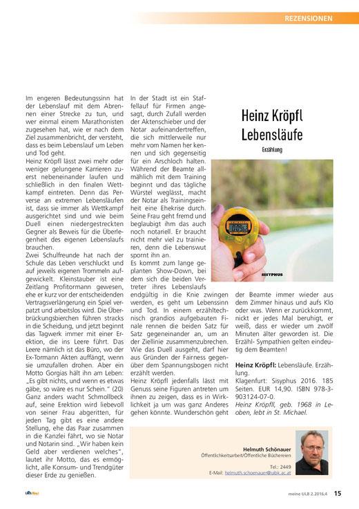 Rezension Heinz Kröpfl Lebensläufe Helmuth Schönauer Universitäts- und Landesbibliothek Tirol Universitätsbibliothek Innsbruck Klagenfurt Sisyphus