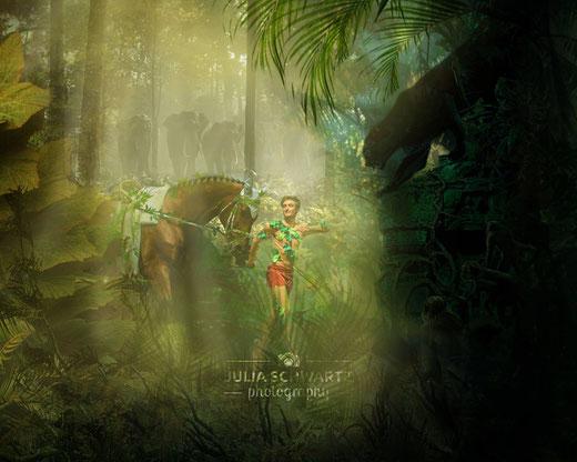 """Mogli in the woods- Diese großartigeFotocollage hat Fotografin Julia Schwartz in ihremUrlaubentworfen und dazu auf ihrer Facebookseite geschrieben: """"Julian Wilfling mit seiner Kür als Mogli aus dem Dschungelbuch hat mir auf dem CVI in Krumke eine schö"""