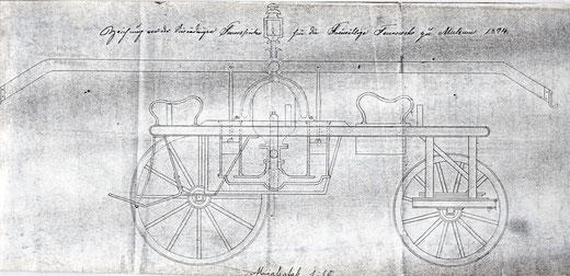 Zeichnung von der vierrädrigen Feuerspritze für die Freiwillige Feuerwehr zu Mulsum 1894