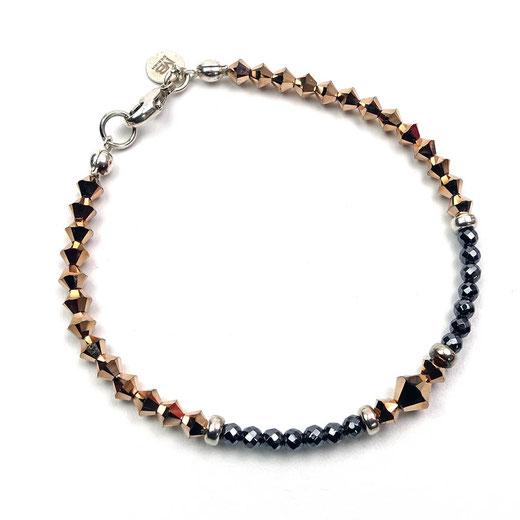 Damenarmband, Hämatit, Swarovskibicons, Silber 925