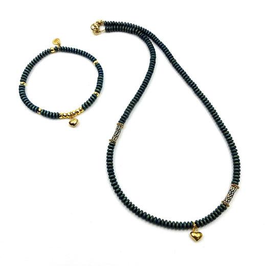 Schmuckset Halskette und Armband, Hämatitrondele grün Herzanhänger Silber 925, 24 Karat vergoldet