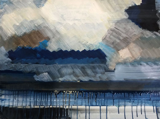 »Trassenheide«, 2015, Malerei auf Papier, ca. 60 x 80 cm.
