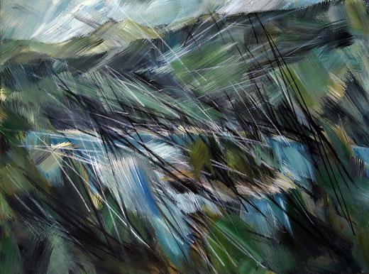 Lag la Cauma, Caumasee, 120x160 cm. Acryl, Kohle und Pastell auf Leinwand. 2014