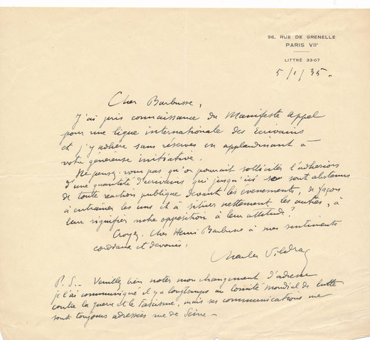Charles Vildrac lettre autographe signée Barbusse Henri fascime achat vente CD Galerie