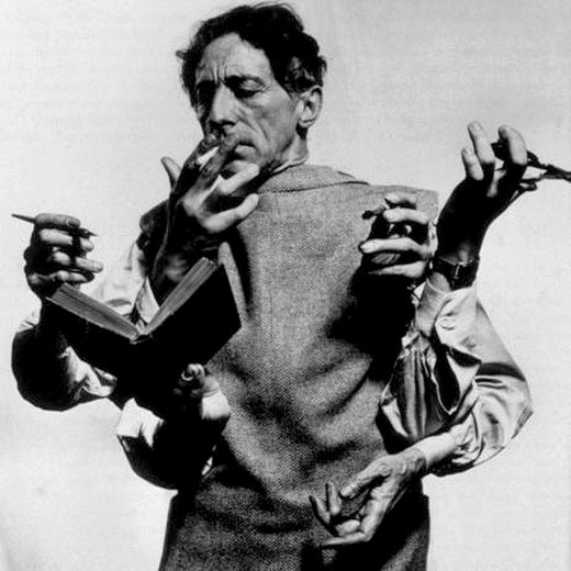 Portrait of Jean Cocteau with Multiple Hands, by Philippe Halsman 1948